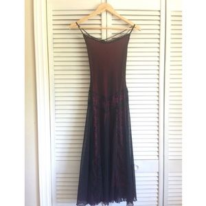 Vintage Betsey Johnson Black & Red Lace Slip Dress